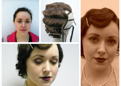1920's wig blocking and setting and authentic makeup