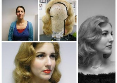 1950's wig blocking and setting and authentic makeup